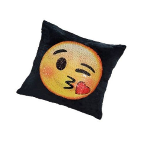 "GRAVITTI 15""X15"" EMOJI SEQUIN PILLOW- HEARTS/ KISSING"
