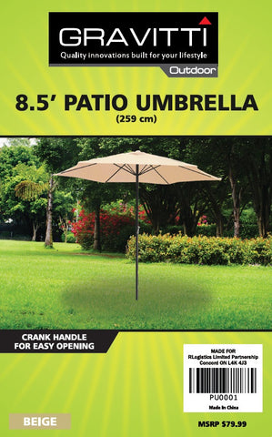 Gravitti Patio Umbrella 8.5'- Beige