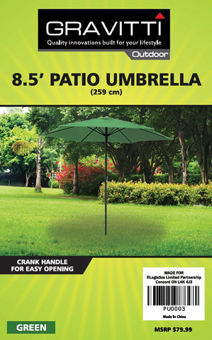 Gravitti Patio Umbrella 8.5'- Green
