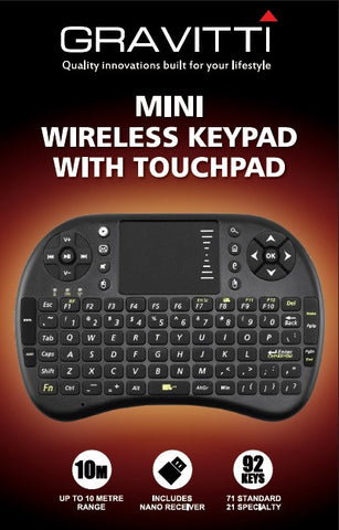 Gravitti 2.4 Ghz Wireless Keyboard With Multi-Touch Touchpad