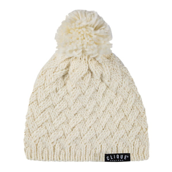 CABLE KNIT BEANIE - OFF WHITE