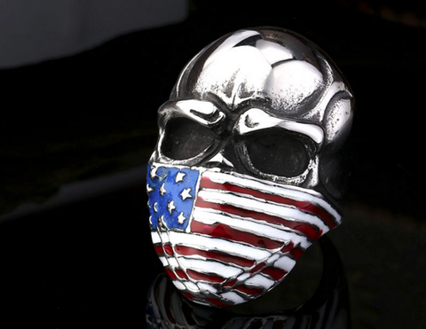 USA Flag Stainless Steel Skull Biker Ring