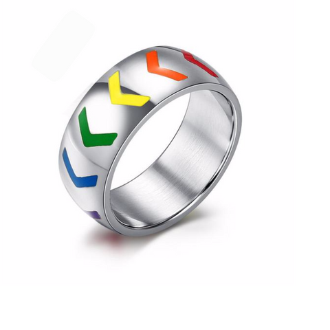 Rainbow Pride Triangle Ring