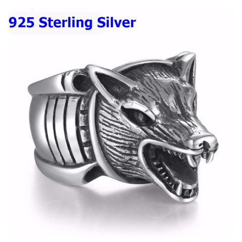 Sterling Silver Howling Wolf  Ring