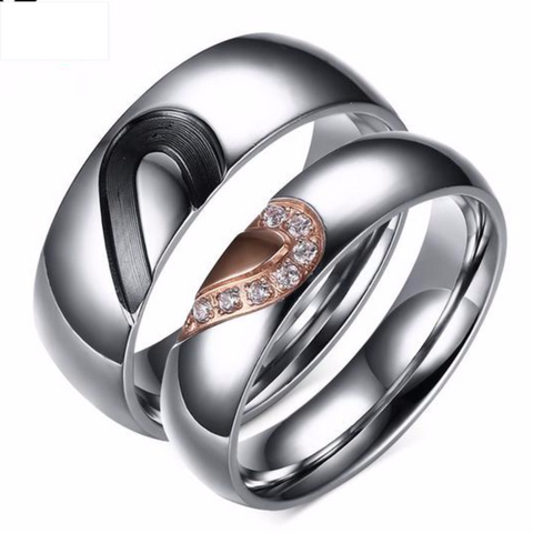 Pair Of His and Hers Love Heart Rings