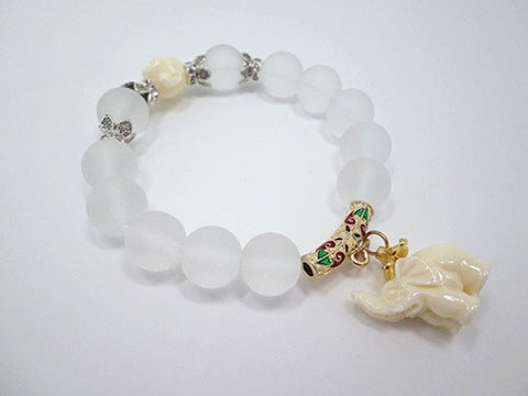 Frosted Crystal Elephant Bracelet