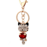 Lucky Cat Crystal Keychain and Purse Pendant