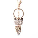 Lucky Cat Crystal Keychain Pendant