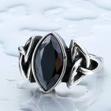 Men's Retro Ring With Black Blue or Red Stone