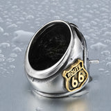 Biker Ring With Gold Route 66 on the Side