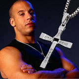 Dominic Toretto Rhinestone Pendant Silver Cross Necklace