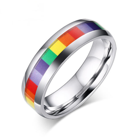 Gay rainbow Women Rainbow Rings in Silver Plated Lesbian Wedding Ring Stainless Steel Jewelry