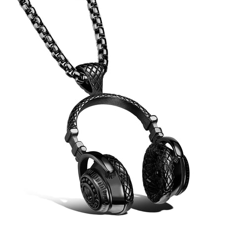Stainless Steel Music Headphones Pendant Necklace Collar Male Hip Hop Rock Jewelry for Men Gold/Black/Silver Plated