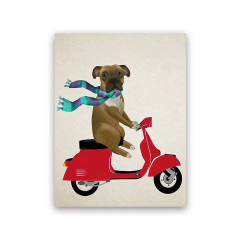 Dog On Vespa Scooter Prints