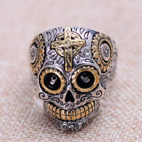 Sterling Silver Skull & Gold Cross Ring
