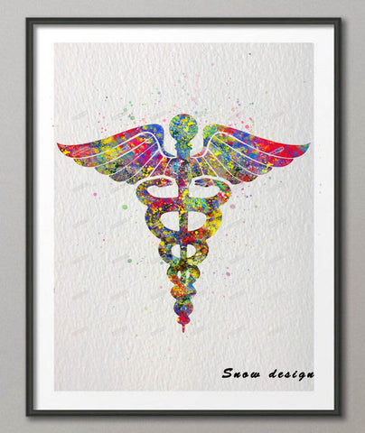 doctors Original Medicine Symbol Caduceus watercolor canvas painting Anatomy wall art poster print Pictures Home Decor wall hanging gift
