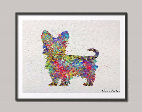 Yorkshire Terrier l watercolor canvas painting Dog wall art poster print Pictures Home Decoration wall hanging gifts