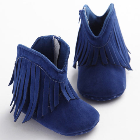 Suede Frill Baby Moccasin Boots