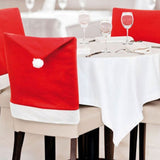 Red Santa Clause Hat Chair Back Cover
