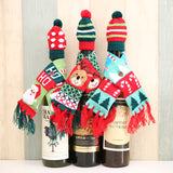 Knitted Scarf Christmas Wine Bottle Decoration