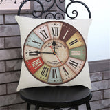 European Clock Style Decorative Sofa Throw Pillow Case Covers