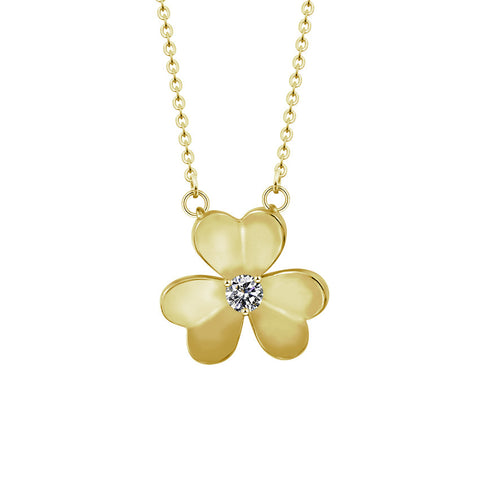 Irish Luck Three Leaf Clover Necklace Shamrock Pendant For Women