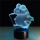 Toad 3D Lamp Visual Light Effect Touch Switch & Remote Control Colors Changes Night Light