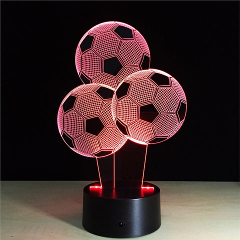 Soccer 3D Lamp Visual Light Effect Touch Switch & Remote Control Colors Changes Night Light