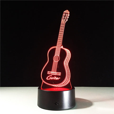 Guitar 3D Lamp Visual Light Effect Touch Switch & Remote Control Colors Changes Night Light