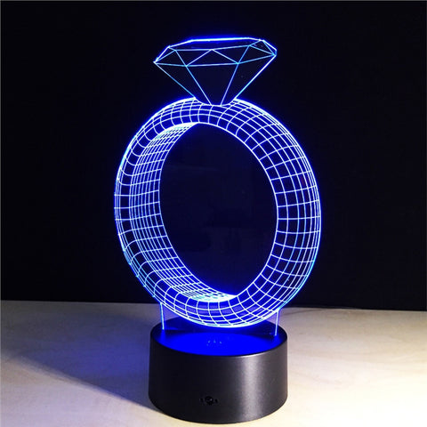Diamond Ring 3D Lamp Visual Light Effect Touch Switch & Remote Control Colors Changes Night Light