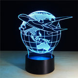 World Travel 3D Lamp Visual Light Effect Touch Switch & Remote Control Colors Changes Night Light