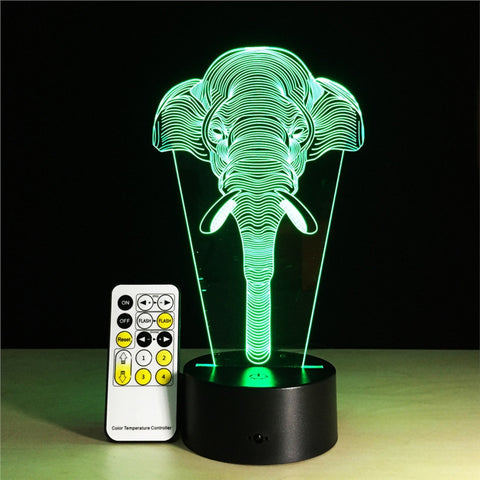 3D Optical Illusion Table Lamp 7 Colors Change Touch Button Sensitive Switch and 15 Keys Remote Control LED Light.