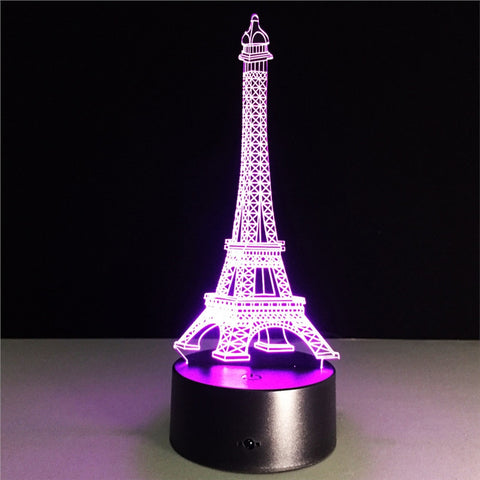 Eiffel Tower 3D Lamp Visual Light Effect Touch Switch & Remote Control Colors Changing Night Light