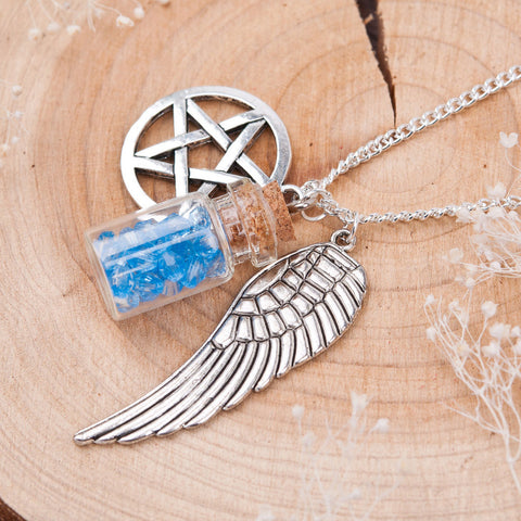 Supernatural Pentacle Angel Wings Wishing Bottle Necklace