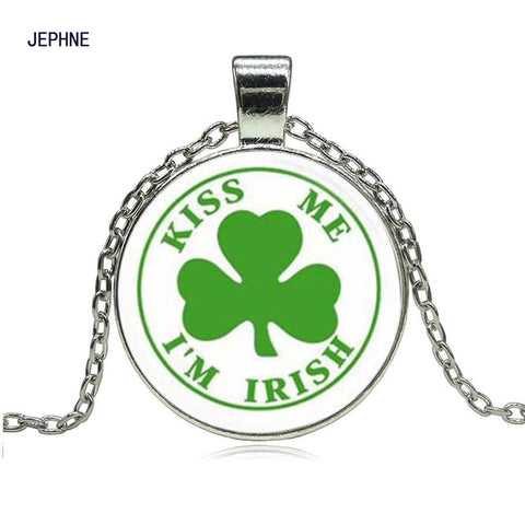 Kiss Me I'm Irish Clover Pendant Chain Necklace
