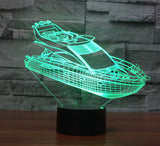 Yacht 3D Illusion Night Light  LED Light 7 Color with Touch Switch