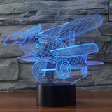 Propeller Plane 3D Illusion Night Light  LED Light 7 Color with Touch Switch
