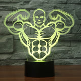 Muscle Man II 3D Illusion Night Light  LED Light 7 Color with Touch Switch