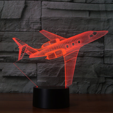 Private Jet 3D Illusion Night Light  LED Light 7 Color with Touch Switch