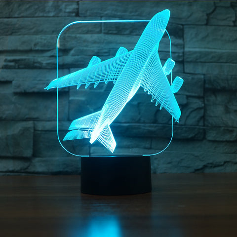 Jumbo Jet 3D Illusion Night Light  LED Light 7 Color with Touch Switch