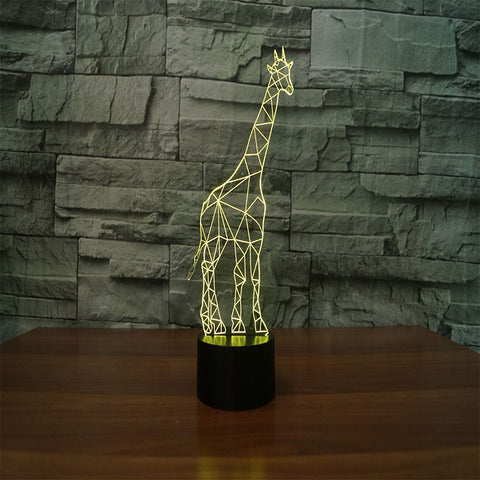 Giraffe 3D Illusion Night Light  LED Light 7 Color with Touch Switch USB Cable