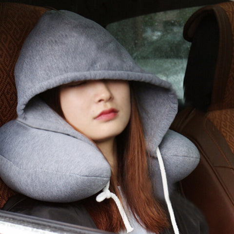 Hooded Travel Neck Cushion Hooded U-shaped Nape Squirrel Nack Cushion Travel Cushion Car Cushion Nap Pillow Comfortable High-Q