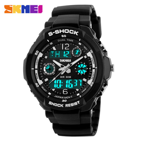 S-Shock Mens Military Watch Analog Quartz And LED Digital Outdoor Waterproof Watch