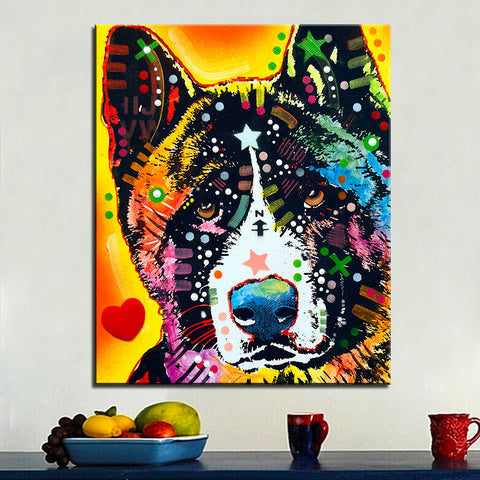Akita Oil Print On Canvas