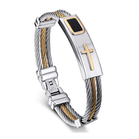 Gold and Stainless Men's Jesus Cross bracelet