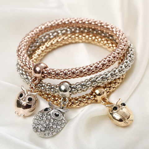 Crystal Owl Bracelets- 3Pcs Set