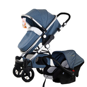 Baby Stroller 3 in 1, Car Seat, High View, Folding Baby Carriage, Travel Kit