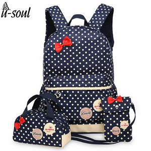 Design Printed Backpack School Bags, Bow Knot, 3 Piece Backpack Kit