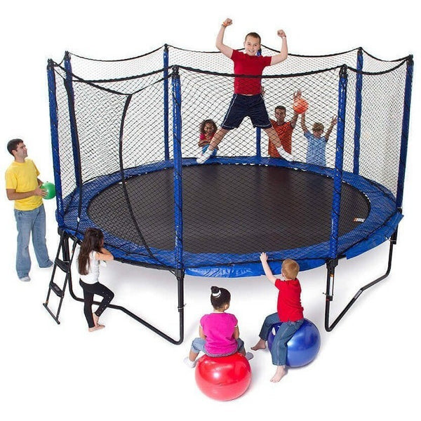 14' PowerBounce Round Trampoline with Enclosure-JumpSport-YardKid