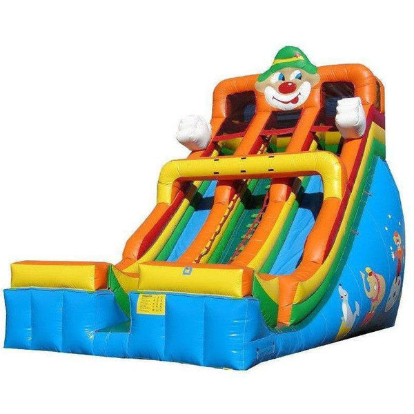24' Commercial Double Lane Inflatable Slide - Circus Clown-Happy Jump-YardKid